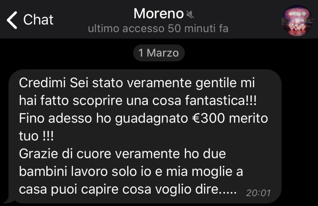 Testimonianze - Moreno lascia una recensione positiva.